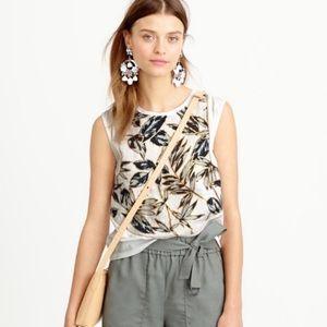 J. Crew linen leaf print sleeveless top XXS